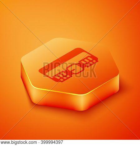 Isometric Hunting Cartridge Belt With Cartridges Icon Isolated On Orange Background. Bandolier Sign.