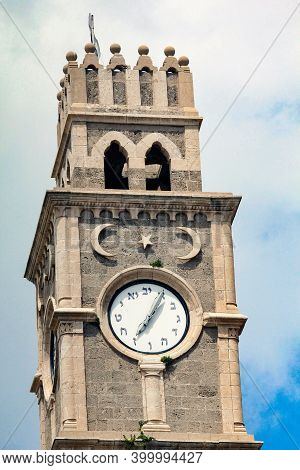 Acre, Israel - May 12, 2011: This Is The Top Of The Khan Al-umdan Clock Tower With The Watch.