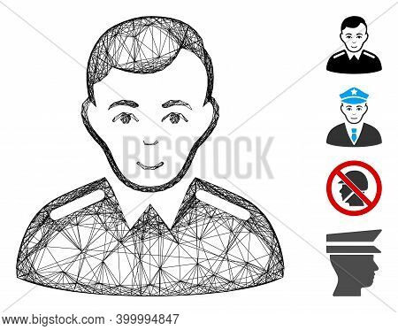 Vector Wire Frame Officer. Geometric Wire Frame 2d Network Generated With Officer Icon, Designed Wit