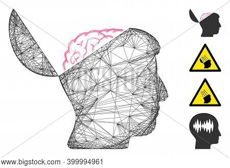 Vector Wire Frame Open Mind. Geometric Wire Frame Flat Net Generated With Open Mind Icon, Designed W