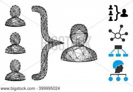 Vector Network Organization Structure. Geometric Hatched Carcass Flat Network Made From Organization