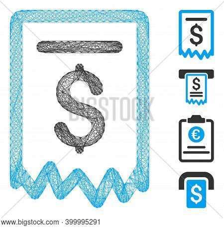 Vector Wire Frame Payment Receipt. Geometric Linear Frame 2d Net Generated With Payment Receipt Icon