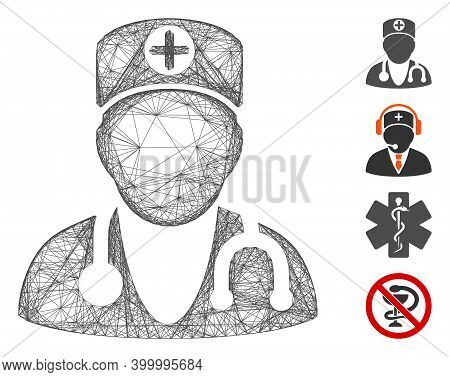 Vector Wire Frame Physician. Geometric Wire Frame Flat Network Generated With Physician Icon, Design