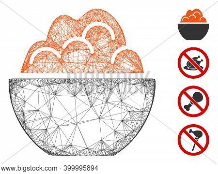 Vector Network Porridge. Geometric Wire Frame 2d Network Made From Porridge Icon, Designed From Cros