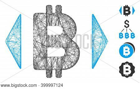 Vector Wire Frame Regulate Bitcoin Price. Geometric Wire Frame Flat Net Made From Regulate Bitcoin P