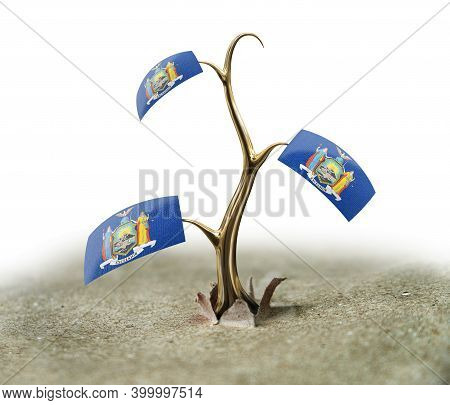 3d Illustration. 3d Sprout With New York Flag On White