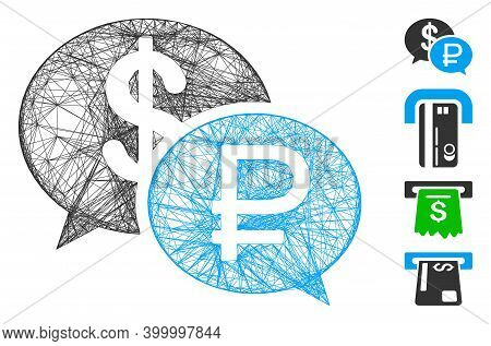 Vector Wire Frame Rouble Dollar Transaction. Geometric Wire Frame 2d Net Made From Rouble Dollar Tra