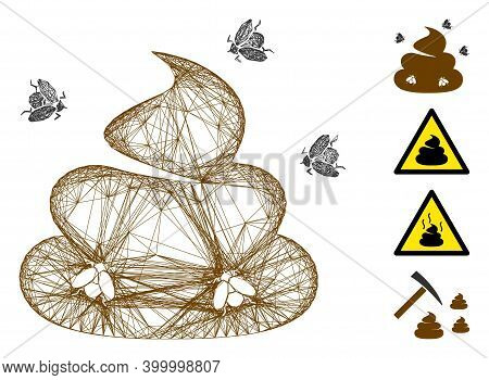 Vector Wire Frame Shit Flies. Geometric Wire Carcass 2d Network Made From Shit Flies Icon, Designed