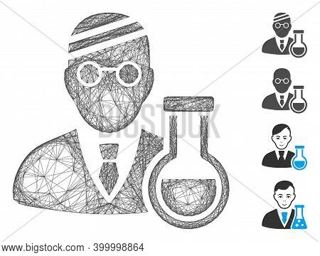 Vector Wire Frame Sick Chemist. Geometric Wire Frame Flat Net Made From Sick Chemist Icon, Designed