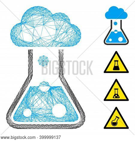 Vector Net Smog Flask. Geometric Wire Carcass Flat Net Generated With Smog Flask Icon, Designed With