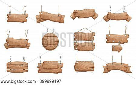 Wooden Signs Set. Wood Blank Banner Hanging, Empty Signboard Illustration