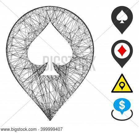 Vector Wire Frame Spade Casino Marker. Geometric Wire Frame Flat Network Based On Spade Casino Marke