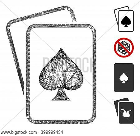 Vector Wire Frame Spade Gambling Cards. Geometric Wire Frame Flat Network Generated With Spade Gambl