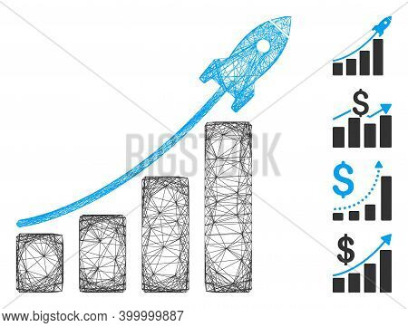 Vector Net Startup Sales Chart. Geometric Hatched Carcass Flat Net Made From Startup Sales Chart Ico
