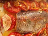 baked trout with tomatoes and onion for Mediterranean recipe poster