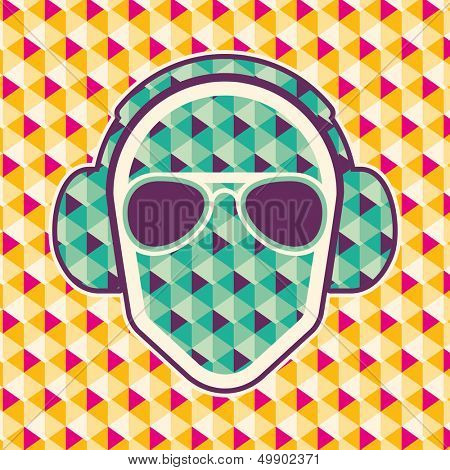 Party background with headphones. Vector illustration.