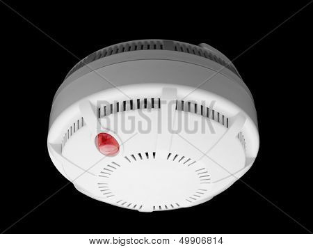 Smoke and fire detector part of fire alarm system isolated on black