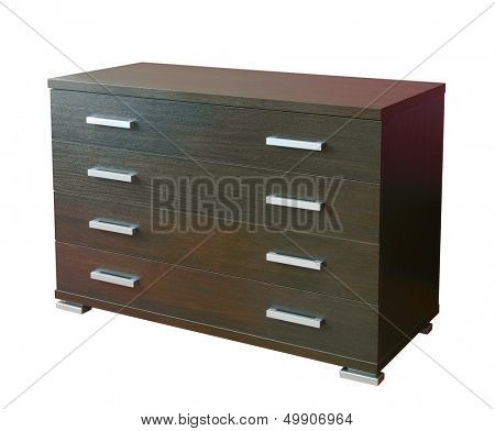 Four drawers modern dresser  isolated on white