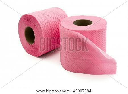 Rolls of  pink toilet paper isolated on white