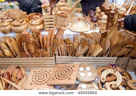 Handmade Wooden Kitchen Utensil Tools Bazaar Fair
