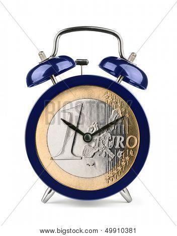 Blue alarm clock with euro clockface isolated on white