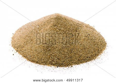 Pile of dry sand isolated on white