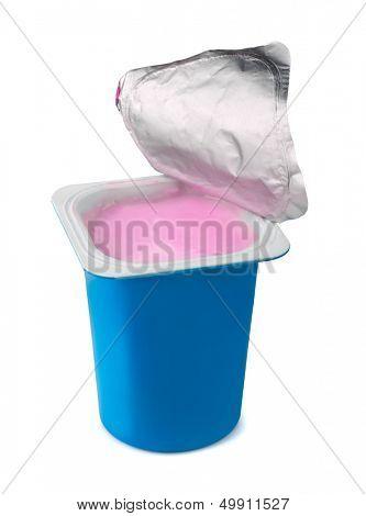 Fruit yogurt in blue plastic box isolated on white