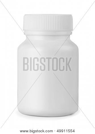 White plastic medicine bottle isolated on white