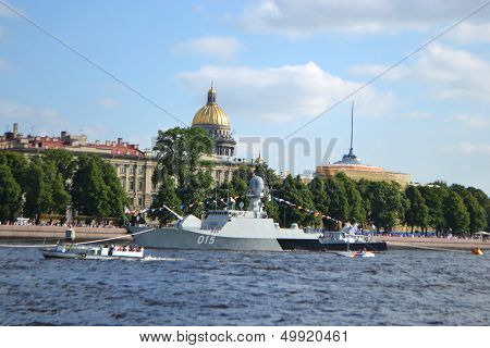 View of the River Neva in center of St Petersburg Russia. poster