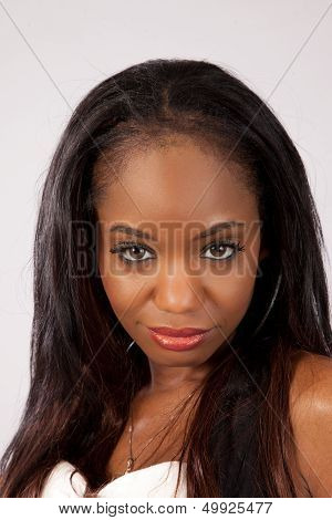 Pretty black woman looking at the camera