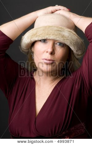 Pretty Middle Age Woman Happy Expression