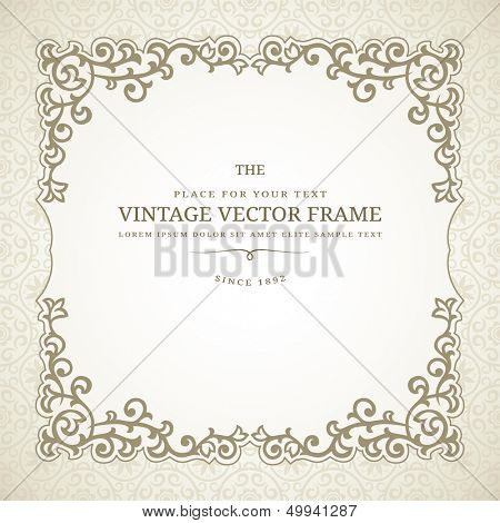 Vintage ornate frame with retro background