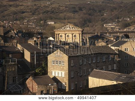 The Greco Roman sandstone built town hall in Todmorden Lancashire