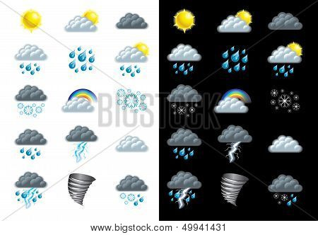 Weather Forecast Icons Vector Set