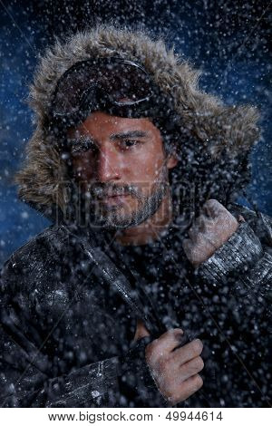 Dramatic Image of Scruffy Man Freezing in Cold Weather
