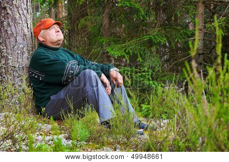 Old Man Resting In A Forest