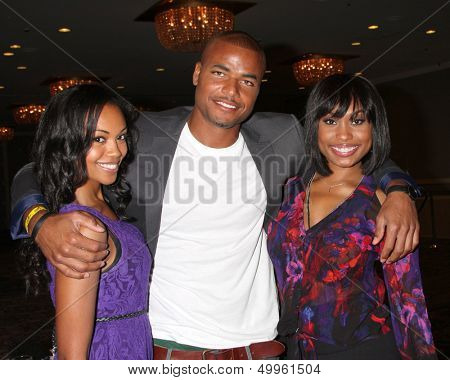 LOS ANGELES - AUG 24:  Mishael Morgan, Redaric Williams, Angell Conwell at the Young & Restless Fan Club Dinner at the Universal Sheraton Hotel on August 24, 2013 in Los Angeles, CA