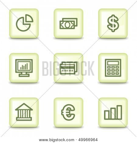 Finance web icons set 1, salad green buttons