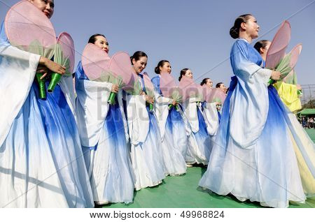 SEOUL KOREA MAY 11: Actresses are performing at Buddhist Cheer Rally for celebration of Lotus Lantern Festival on may 11 2013 at Dongguk University Stadium, Seoul, Korea. in Seoul Korea.