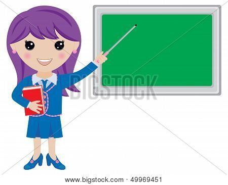 Kawaii Girl Teacher with Book, Pointer and Blackboard