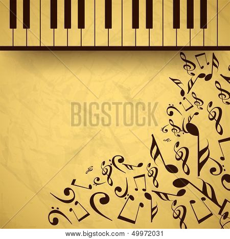 Vintage musical background with piano and musical notes, can be use as flyer, poster, banner or background for musical parties and concert.