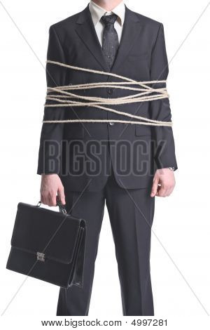 A Tied-up Businessman Isolated On A White Background
