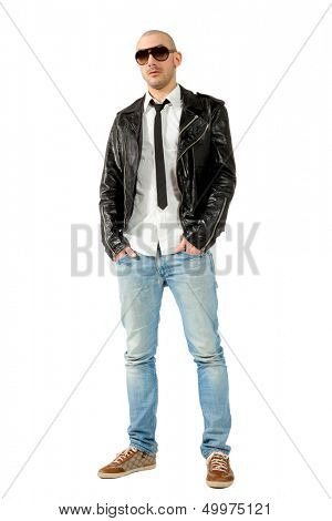 portrait of man with black leather jacket, isolated on white background poster