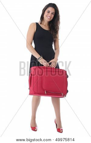 Attractive Young Woman Carrying a Suitcase