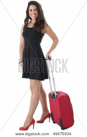 Attractive Young Woman Pulling Suitcase