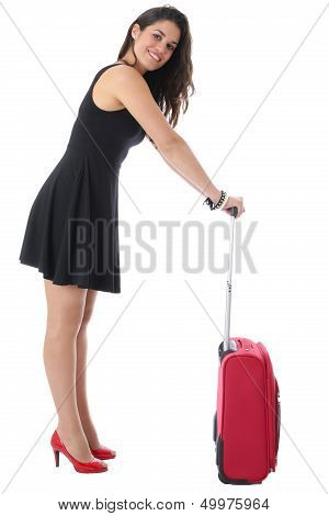 Attractive Young Woman With Suitcase