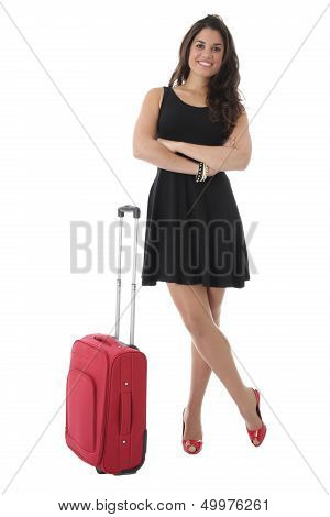 Young Woman Standing Next to a Red Suitcase