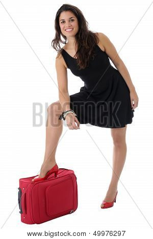 Young Woman Leaning on a Suitcase