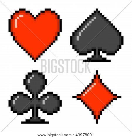 8-bit Pixel Card Suits