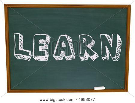 Learn Word On Chalkboard